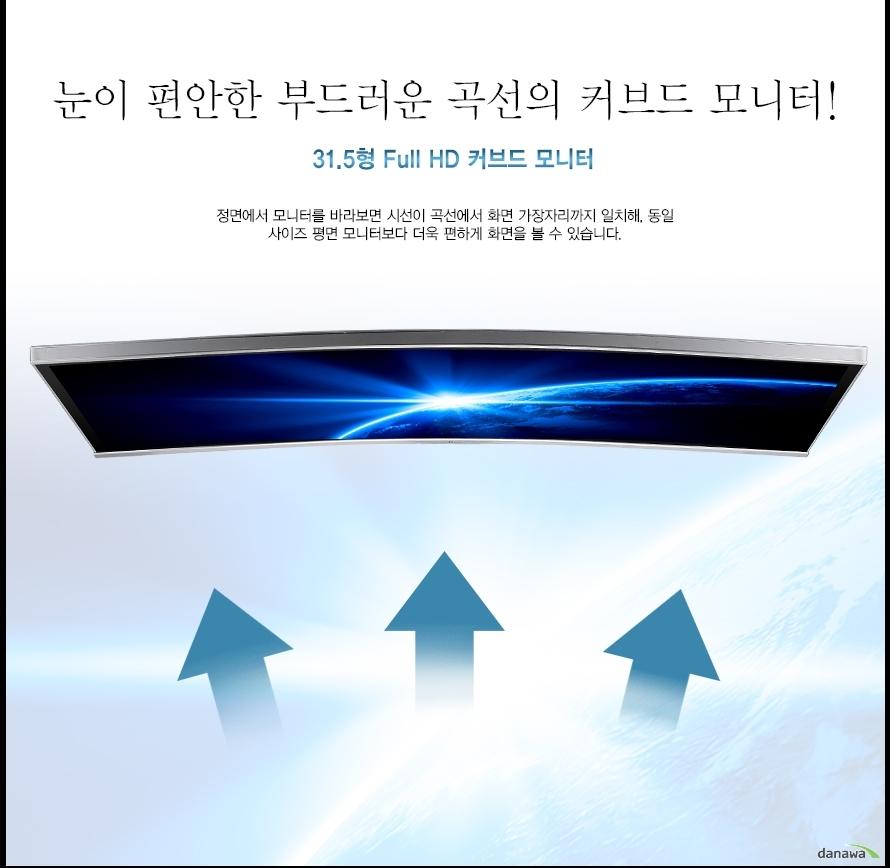 눈이 편안한 부드러운 곡선의 커브드 모니터!31.5형 Full HD 커브드 모니터 정면에서 모니터를 바라보면 시선이 곡선에서 화면 가장자리까지 일치해, 동일 사이즈 평면 모니터보다 더욱 편하게 화면을 볼 수 있습니다.