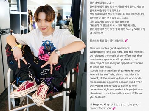 """방탄소년단(BTS) 제이홉 """"'치킨누들수프' 프로젝트, 성장의 계기""""[똑똑SNS]"""