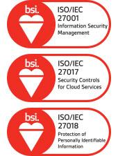 ISO/IEC 27001, 27017, 27018 인증 마크 이미지